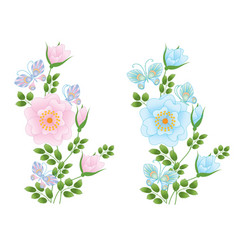 Wild rose flowers and butterflies vector