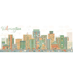 Abstract wilmington skyline with color buildings vector