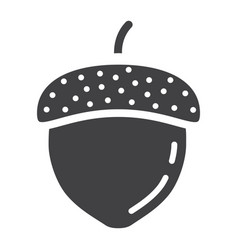 Acorn solid icon nut and food graphics vector