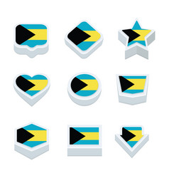 Bahamas flags icons and button set nine styles vector