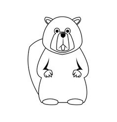 Beaver cartoon icon vector
