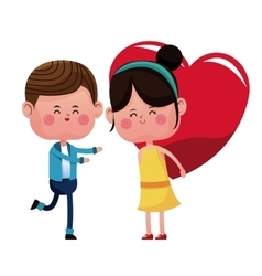 Boy and girl carrie red heart vector
