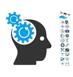 Brain gears rotation icon with air drone tools vector