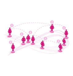 Breast cancer awareness ribbon network women vector