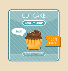 Brown cupcake with white chocolate card vector