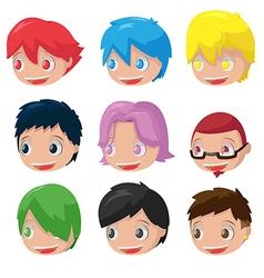 Character cartoon hair head set vector