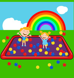 Children in ball house with colorful ball vector
