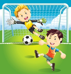 children playing soccer outdoors vector image vector image
