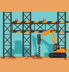 Construction site with drill digging hole vector