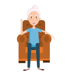 Cute grandmother sitting on the couch avatar vector