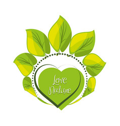 emblem of heart shape with leaves around vector image