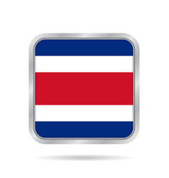 Flag of costa rica metallic gray square button vector