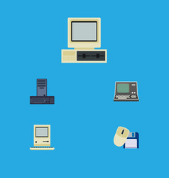 Flat icon computer set of processor computing vector
