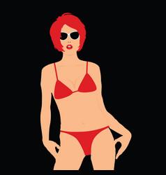 girl in red bikini elegant vector image