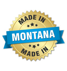 Made in montana gold badge with blue ribbon vector