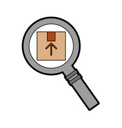 Magnifying glass with box carton delivery icon vector