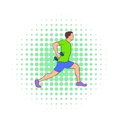 Man doing lunges with dumbbells icon vector image vector image