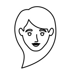 Monochrome contour of smiling woman face with long vector