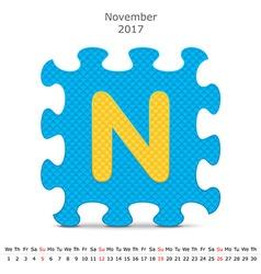 November 2017 puzzle calendar vector image vector image
