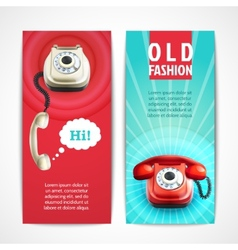Old telephone banners vertical vector