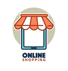 Online shopping logo design with a tablet under vector