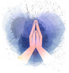 prayer hands vector image vector image