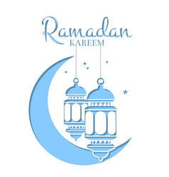 ramadan in paper style with vector image vector image