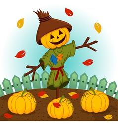 scarecrow with a pumpkin head vector image vector image
