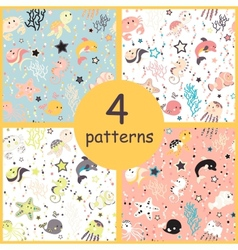 Sea creatures seamless pattern vector