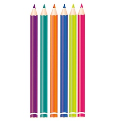 Set of colored pencils isolated on white backgroun vector