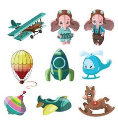 set of toys for children for vector image