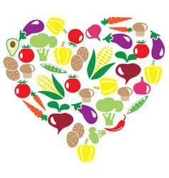 Veggies heart vector