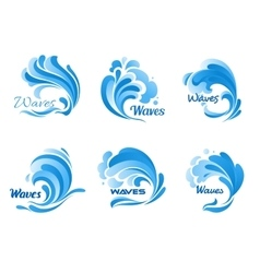 Water waves and splashes icons vector image vector image