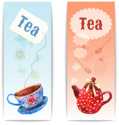 Watercolor tea banner vector