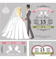 Wedding invitation setretro cartoon bride and vector