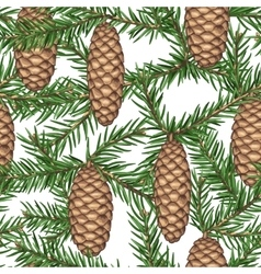Seamless pattern with fir branches and cones vector image
