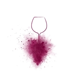 hand drawing wine glass and grapes vector image