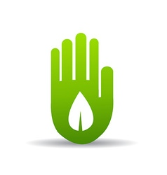 Green hand with green leaf vector image