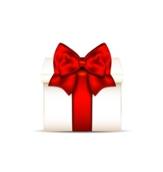 Gift box with red bow isolated on white background vector image