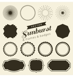 Set of vintage line frames and labels with vector image