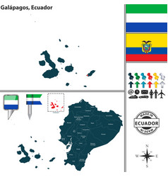 Map of galapagos ecuador vector