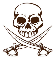 Pirate skull and crossed swords symbol vector