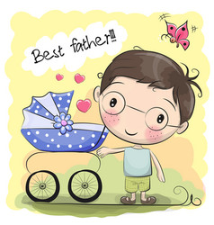 Greeting card best father vector