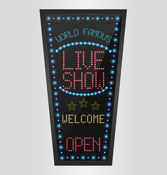 Retro sign with blue lights and the word live show vector