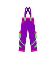 Flat style skiing snowboarding feather pants vector