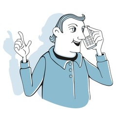 Man with cell phone vector