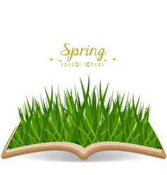 Spring with grass in the book vector