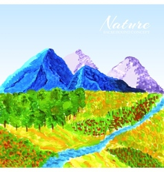 Landscape painted with oil paint background vector