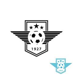 Football ball and wings mockup team logo sport vector image