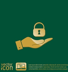 Hand holding a padlock vector